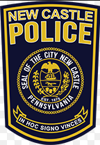 blue seal with yellow and white text for the New Castle Area Police Department