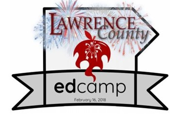 Lawrence County EdCamp logo with fireworks behind text