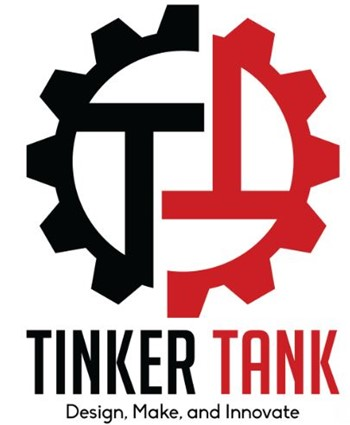Double T inside a red and black gear with with text Tinker Tank:  Design, Make, and Innovate