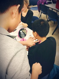 Students practice special effects makeup