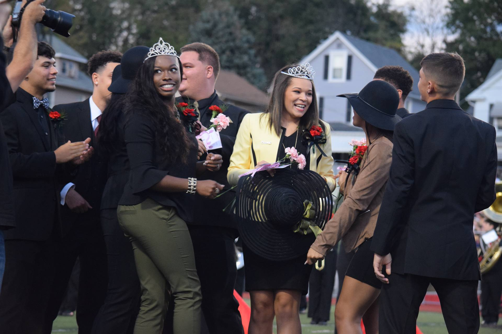 Mariah celebrates with members of the 2017 Homecoming Court