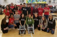 Students pose after a robotics competition