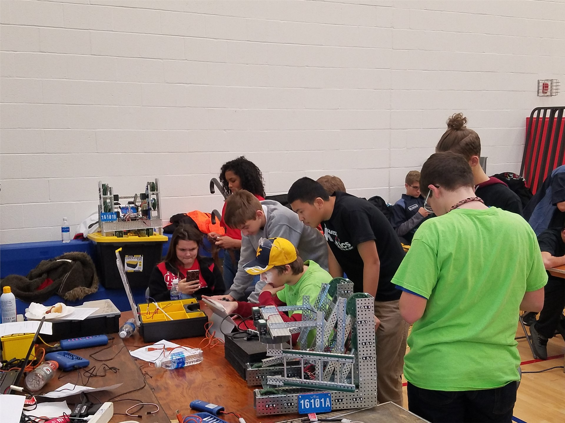 Students work on their robotics projects
