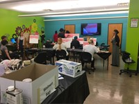 Students work on their art projects in the FabLab
