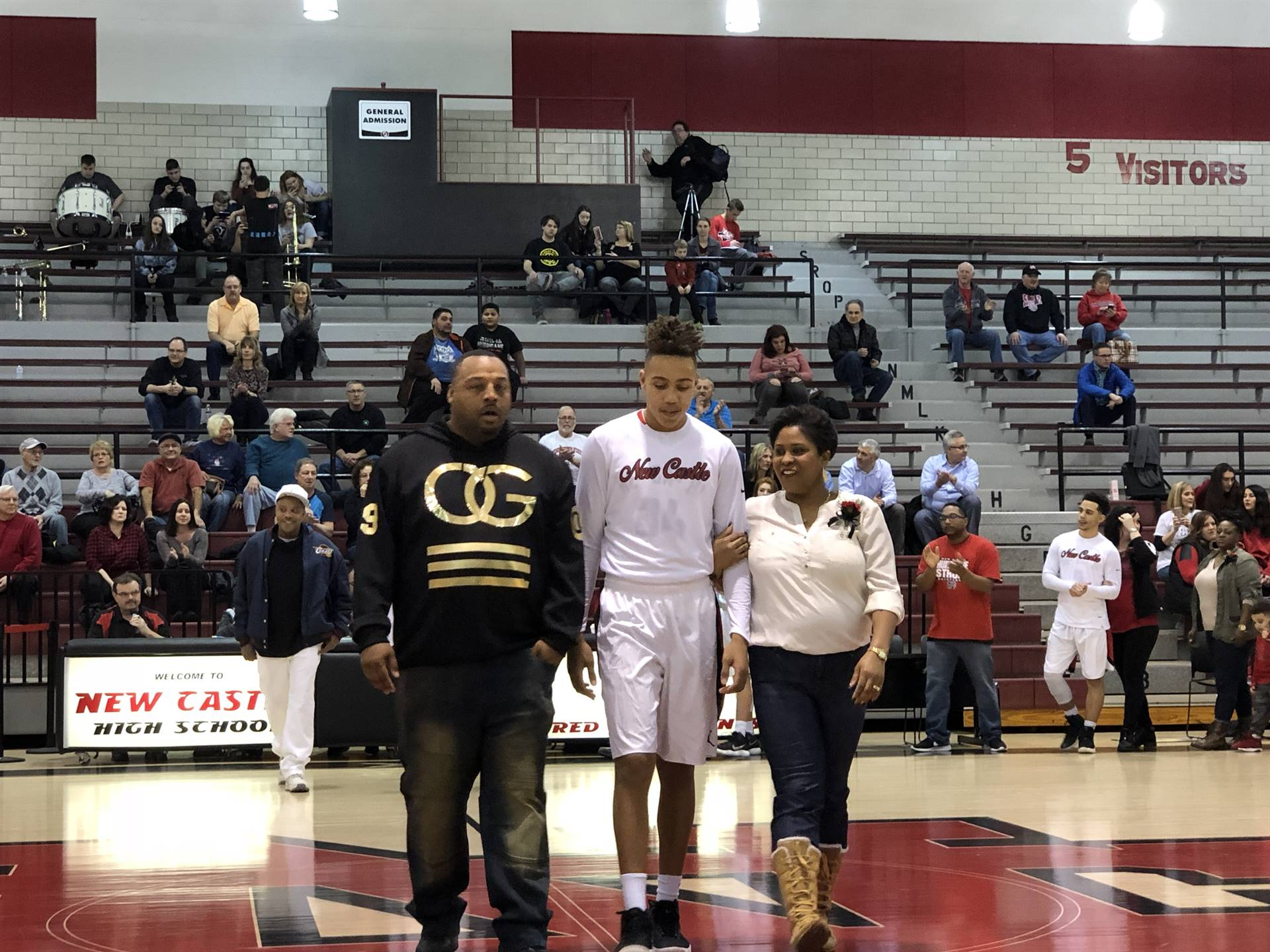 Anthony Bailey, escorted by Julie and Anthony Bailey