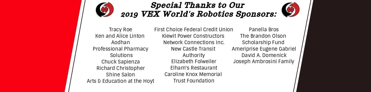 red and black banner with list of sponsors for vex robotics worlds competition