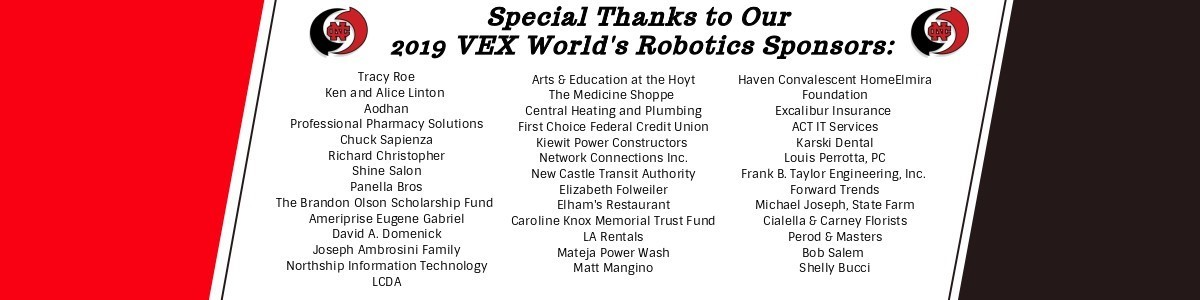 red and black banner with nc logo and names of 2019 vex worlds robotics sponsors