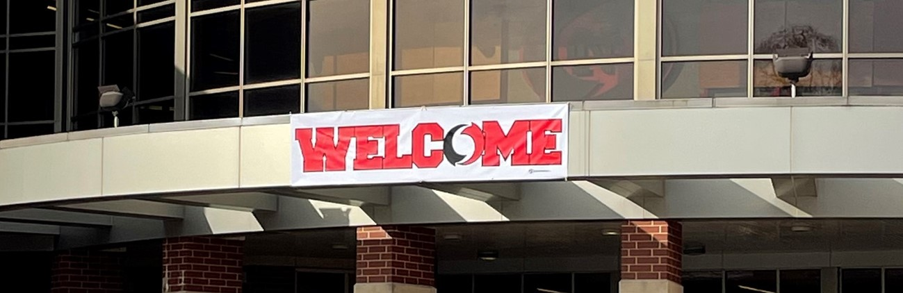 welcome banner outside junior-senior high school